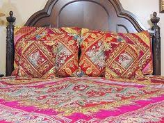 Indian Inspired Bedding Red Maroon Indian Bedding Sari Beaded Duvet With Pillows Cushion