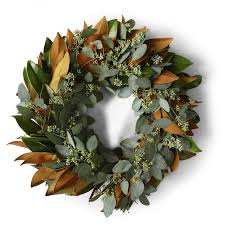 magnolia seeded eucalyptus wreath williams sonoma