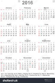 calendar 2016 marked official holidays usa stock vector 300770675
