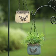 Home Decor Accent Lawn Garden Winsome Butterfly Round Hanging Ceramic Pot Great Home