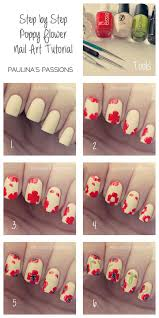 step by step poppy flower nail art tutorial pictures photos and