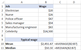 calculating mean median and mode in excel
