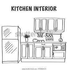 modern kitchen cabinets tools sketch modern kitchen interior cabinets kitchen stock vector