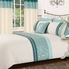 Teal Duvet Cover Teal U0026 Cream Colour Stylish Matallic Floral Diamante Duvet Cover