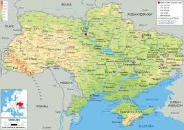 Physical Map Of Europe by Large Physical Map Of Ukraine With Roads Cities And Airports
