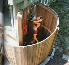 outdoor shower love the round fenced wall outdoor living