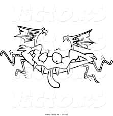 vector of a cartoon monster bat coloring page outline by
