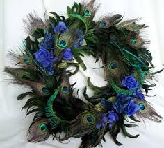 peacock feather wreath teal royal blue home decor original peacock