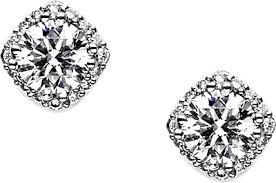 diamond stud earring 18k white gold 1 02ct emerald cut diamond earrings scse1052