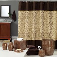 bathroom curtain ideas to look attractive cool ideas for home uphome luxury brown gold shiny damask bathroom shower curtain waterproof and mildewproof havy duty