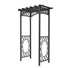 bosmere english garden 56 in x 88 in gunmetal grey steel arbor