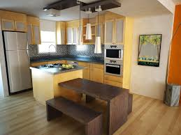 adorable modern small quaint kitchen ideas showing dark brown adorable modern small quaint kitchen ideas showing dark brown wooden dining bench on light brown laminate wood floor plus yellow kitchen cabinet over cone