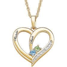 personalized heart pendant personalized s diamond birthstone heart pendant
