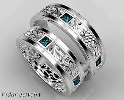 unique matching wedding bands matching wedding band set his and hers blue diamond wedding band