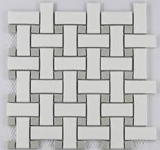 cosmopolitan porcelain mosaic basketweave pattern white matte w