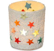 wholesale glass votive tea light candle holder with star designs