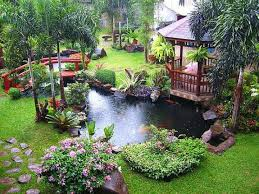 Backyard Pond Ideas With Waterfall Beautiful Modern Backyard Garden With Pond Small Bridge And Small