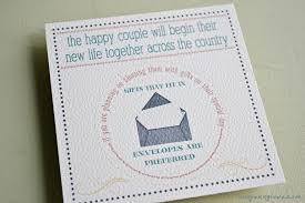 wedding gift or money wedding invitations one