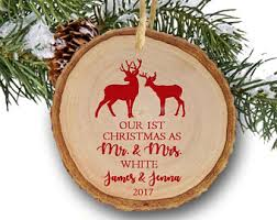 personalized christmas ornaments wedding newlywed ornament etsy