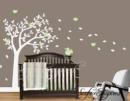 Nursery Tree Wall Decal Baby Nursery Decor Leaf Flying From Tree Driven By Wind Baby