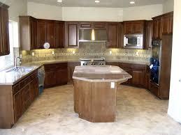 kitchen island cherry wood minimalist u shape kitchen decoration using small cream granite top