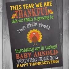 thanksgiving pregnancy announcement printable card sign turkey