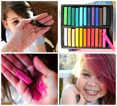 temporary hair color for halloween dyeing hair with chalk pastels wet hair color heat set with