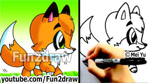 how to draw a cartoon fox cute animals drawings fun2draw art