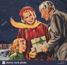 1950s uk christmas gifts magazine plate stock photo royalty free