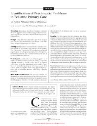 identification of psychosocial problems in pediatric primary care