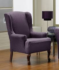 2 Piece Wing Chair Slipcover Purple Linen Wingback Chair Slipcover And Curved Brown Polished