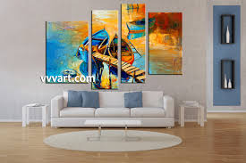 4 piece oil paintings boat ocean huge yellow canvas art