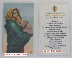 prayer cards personalized memorial funeral or sympathy prayer cards