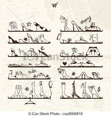 eps vectors of shoes shop boots on shelves sketch for your