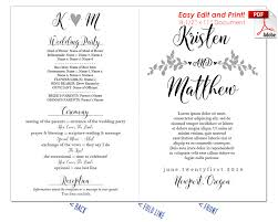 easy wedding program template whimsical branches wedding program fan cool colors