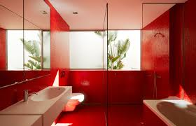 interior bathroom design with red color wall interior bathroom design with red color wall decorations floor fitted bath sink and toilet seat mirror glass walls shower modern living room