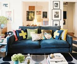 blue couch living room the peak of très chic pop of suede