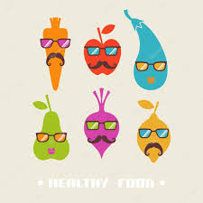 hipster fruits and vegetables icons u2014 stock vector