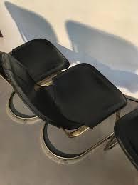 Esszimmerst Le Mit Leder Esszimmerstühle Aus Messing U0026 Schwarzem Leder Von Willy Rizzo Für