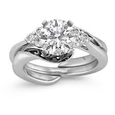 black diamond wedding set vintage diamond wedding set with black rhodium shane co
