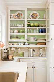 glass curio cabinets in kitchen traditional with painted kitchen