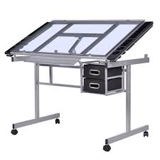 adjustable rolling drawing desk drafting with table tempered glass