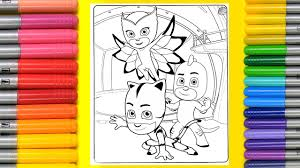 coloring pj masks owlette gekko cat boy colouring pages