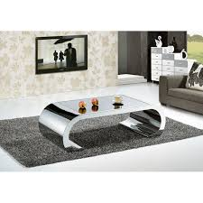 Tables For Living Room Attractive Modern Design Metal Silver Gloss Stylish Black Top