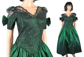 eighties prom dress vintage 80s prom dress xs emerald green taffeta black lace