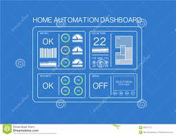 home automation dashboard example with flat design to control