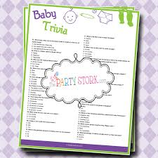 baby shower trivia game with questions and facts by thepartystork