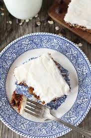oatmeal chocolate chip cake with cream cheese frosting two peas