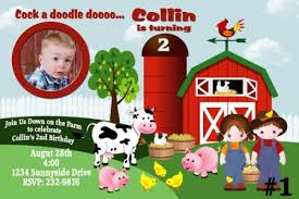 20 printed farm custom birthday invitations photo barnyard