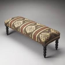 rustic taupe and ivory jute upholstered ottoman bench woodwaves